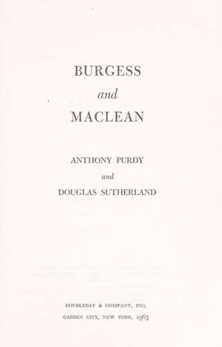 Burgess and Maclean by Anthony Purdy