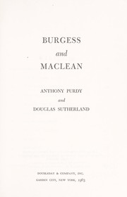Cover of: Burgess and Maclean | Anthony Purdy