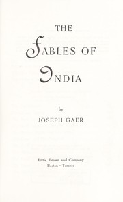 Cover of: The fables of India. | Joseph Gaer