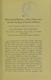 Cover of: On educational reform, school museums, and the feeding of school children