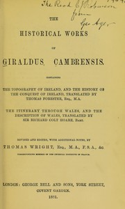 Cover of: The historical works of Giraldus Cambrensis | Giraldus Cambrensis