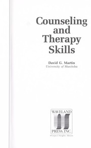 Cover of: Counseling and Therapy Skills | David G. Martin