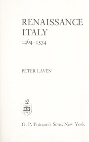 Renaissance Italy, 1464-1534 by Peter Laven