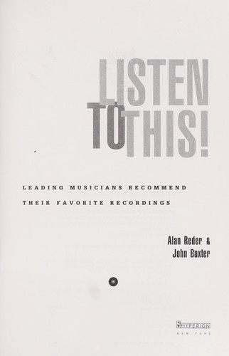 Listen to this! by Alan Reder