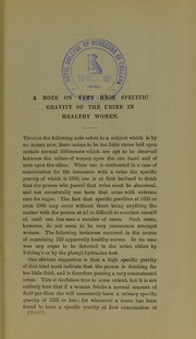 Cover of: A note on very high specific gravity of the urine in healthy women | Herbert Stanley French