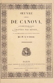 Cover of: Oeuvre choisi de Canova