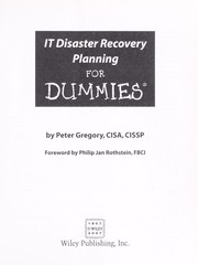 Cover of: IT disaster recovery planning for dummies | Peter H. Gregory