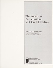 Cover of: The American Constitution and civil liberties