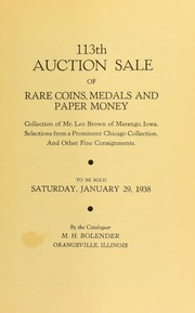 Cover of: 113th auction sale of rare coins, medals, and paper money | M. H. Bolender