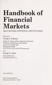 Cover of: Handbook of financial markets |