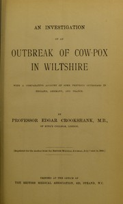 Cover of: An investigation of an outbreak of cow-pox in Wiltshire