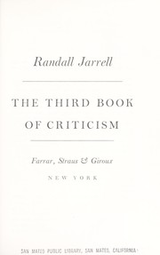 Cover of: The third book of criticism