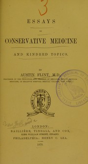 Cover of: Essays on conservative medicine and kindred topics