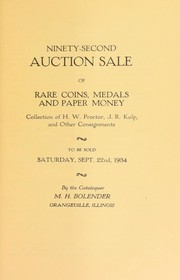 Cover of: Ninety-second auction sale of rare coins, medals, and paper money | M. H. Bolender