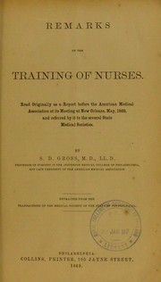 Cover of: Remarks on the training of nurses