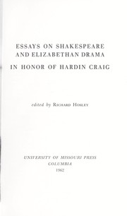 Cover of: Essays on Shakespeare and Elizabethan drama in honor of Hardin Craig