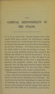 Cover of: The criminal responsibility of the insane
