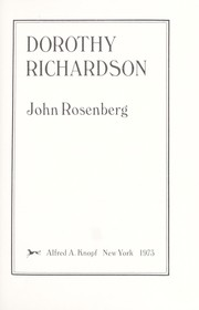 Cover of: Dorothy Richardson. | John Rosenberg