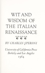 Cover of: Wit and wisdom of the Italian Renaissance