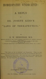 Cover of: Homoeopathy vindicated