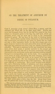 Cover of: On the treatment of aneurism by iodide of potassium | George William Balfour