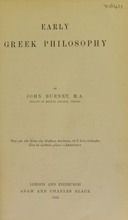 Cover of: Early Greek philosophy | Burnet, John