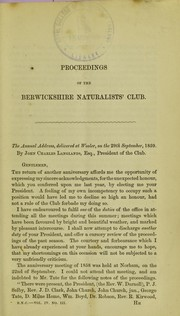 Cover of: Proceedings of the Berwickshire Naturalists