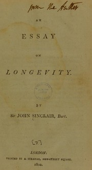 Cover of: An essay on longevity