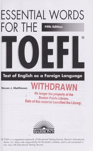 Barron's essential words for the TOEFL by Steven J. Matthiesen