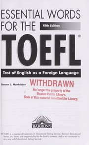 Cover of: Barron's essential words for the TOEFL | Steven J. Matthiesen