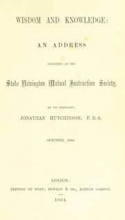 Cover of: [Addresses and papers of Sir Jonathan Hutchinson]