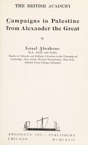 Cover of: Campaigns in Palestine from Alexander the Great. | Abrahams, Israel