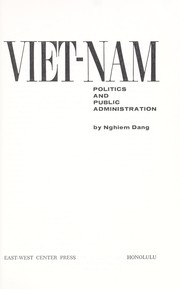 Cover of: Viet-Nam; politics and public administration |