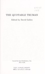 Cover of: The quotable Truman