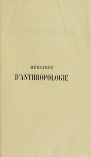 Cover of: M©♭moires d'anthropologie