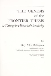 Cover of: The genesis of the frontier thesis