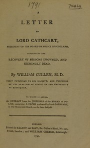 Cover of: A letter to Lord Cathcart ... concerning the recovery of persons drowned and seemingly dead