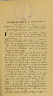 Cover of: Practical experience in appendicitis | George I. Miller