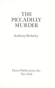 Cover of: The Piccadilly Murder