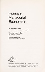 Cover of: Readings in managerial economics | W. Warren Haynes