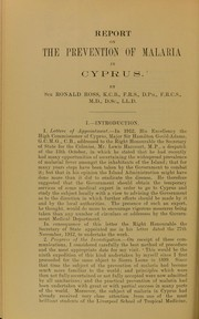 Cover of: Report on the prevention of malaria in Cyprus