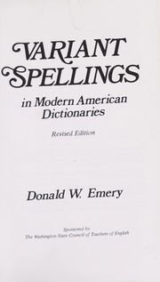 Cover of: Variant spellings in modern American dictionaries
