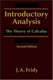 Cover of: Introductory analysis