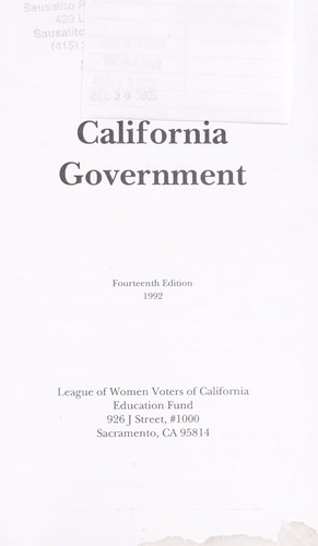 Guide to California government by League of Women Voters of California