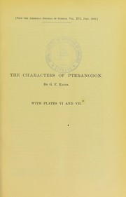 Cover of: The characters of Pteranodon