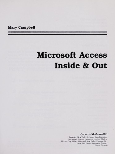 Microsoft Access inside & out by Mary V. Campbell