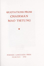 Cover of: Quotations from Chairman Mao Tse-tung