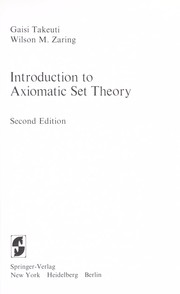 Cover of: Introduction to axiomatic set theory
