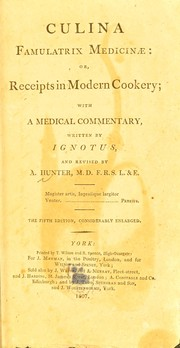 Cover of: Culina famulatrix medicinae | Hunter, A.