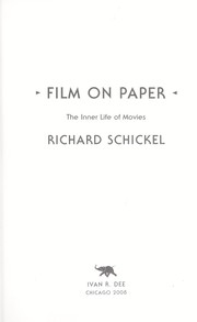Cover of: Film on paper: the inner life of movies